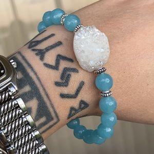 Genuine White druzy quartz stone & blue agate